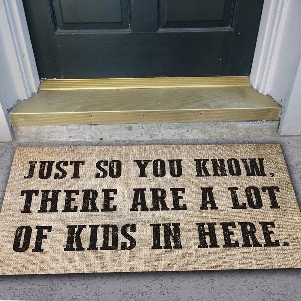 Doormat in front of door.